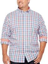 THE FOUNDRY SUPPLY CO. The Foundry Big & Tall Supply Co. Long Sleeve Checked Button-Front Shirt-Big and Tall