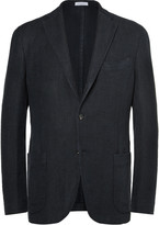 Boglioli - Navy Slim-fit Checked Linen And Cotton-blend Blazer