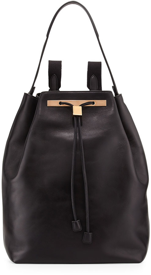 The Row Mini Leather Drawstring Backpack, Black