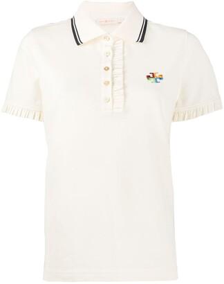 Tory Burch Ruffle Trim Polo Shirt
