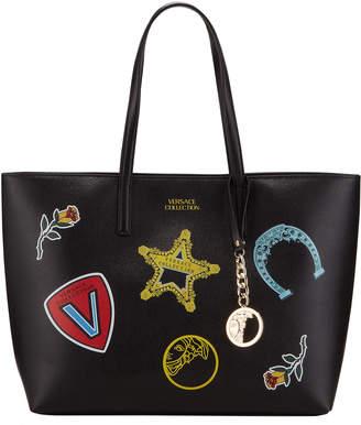 Versace Large Logo Patches Shopper Tote Bag, Black