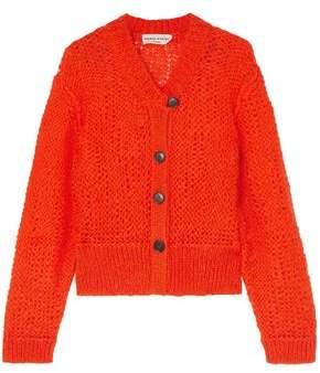 Sonia Rykiel Button-detailed Open-knit Mohair-blend Cardigan