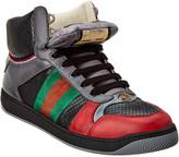 Gucci Web Screener Leather High-Top Sneaker