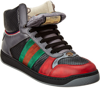 Gucci Web Screener Leather High-Top Sneaker