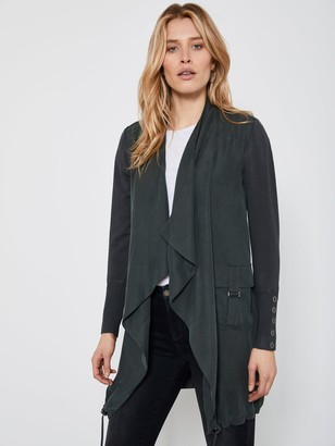 Mint Velvet Woven Front Longline Cardigan - Khaki
