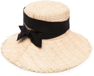 Ruslan Baginskiy Bow-Detail Straw Sun Hat