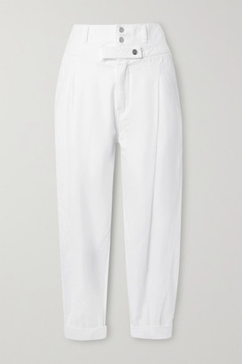 Frame Twisted Pleated Cotton Tapered Pants - White