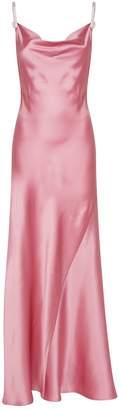 Alessandra Rich Silk Slip Dress with Crystal Straps