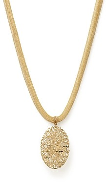 Bloomingdale's 14K Yellow Gold Woven Mesh Necklace with Oval Pendant - 100% Exclusive