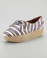 Tabitha Simmons Florence Tie-Striped Platform Espadrille Sneaker, Pink/Navy