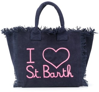 MC2 Saint Barth Slogan Frayed Beach Bag