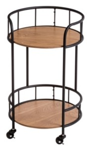 Honey-Can-Do 2-Tier Round Side Table With Wheels