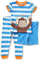 Little Me Baby Boys 12-24 Months Monkey Striped Pajama Tee, Striped Pajama Pants, & Solid Shorts Set