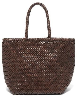 DRAGON DIFFUSION Grace Small Woven Leather Basket Bag - Dark Brown