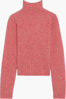 Victoria Beckham Cropped Melange Brushed-wool Turtleneck Sweater