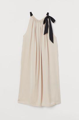 H&M Bow-detail Dress - Beige