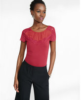 Express mesh and lace yoke fitted tee