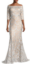 Jovani 3/4-Sleeve Lace Off-the-Shoulder Mermaid Gown, Light Blue/Nude