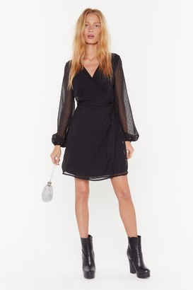 Nasty Gal Womens Texture You Later Puff Sleeve Wrap Dress - Black - 4