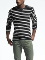 Banana Republic Stripe Supima Cotton-Blend Waffle-Knit Crew
