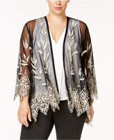 Alfani Plus Size Embroidered Sheer Jacket, Created for Macy's