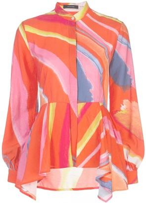 Natori Abstract Print Peplum Shirt