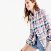 J.Crew Pink vintage plaid Regent blazer with ruffle trim