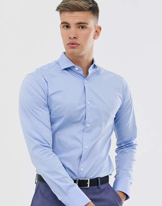 Tiger of Sweden Farrell cotton blend stretch twill slim fit shirt-Blue