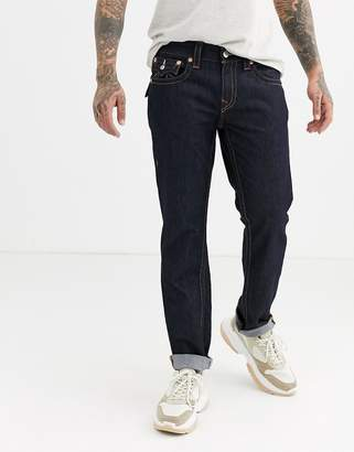 True Religion rocco slim jean with back pocket flap and stitch detail in rinse wash-Blue