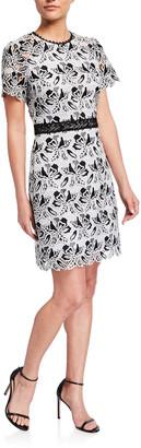 Shoshanna Astraea Terrace Leaf Lace Short-Sleeve Dress