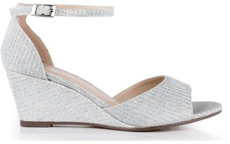 Paradox London Glitter Mesh' Jemma' Low Wedge Peep Toe