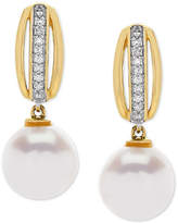 Honora Style Cultured Freshwater Pearl (8 mm) & Diamond Accent Drop Earrings in 14k Gold
