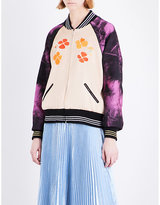 Rodarte Embroidered satin bomber jacket