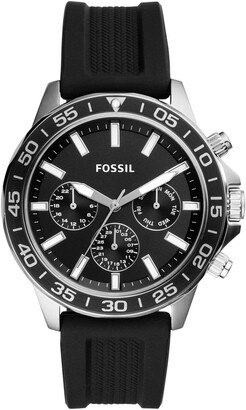 Fossil Men's Bannon Multifunction Black Silicone Watch, 45mm