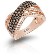 Effy Jewelry Effy Espresso 14K Rose Gold Cognac & White Diamond Ring, .90 TCW