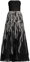 BCBGMAXAZRIA Floral Embroidered Strapless A-Line Gown