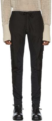Greg Lauren Black 50/50 Mesh/Fleece Cargo Pants