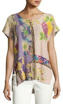 Etro Sequined Floral Short-Sleeve Tunic, Fuchsia/Peach/Lilac