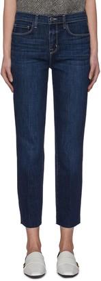 L'Agence 'Sada' frayed hem crop slim fit jeans