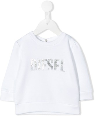 Diesel Metallic Foil Logo Print Sweatshirt