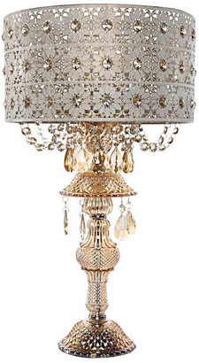 """River Of Goods 24"""" Jeweled Blossoms Table Lamp, Champagne"""