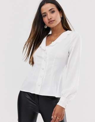 Fashion Union button down blouse with puff sleeves and scallop collar-Cream