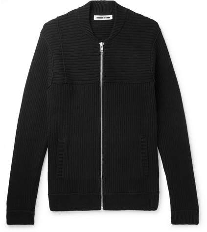 McQ Ribbed Cotton-Blend Zip-Up Cardigan