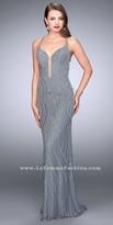 La Femme Open Strappy Back Intricate Beaded Evening Dress