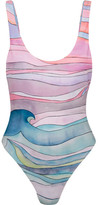 Mara Hoffman Waves Printed Swimsuit - Sky blue