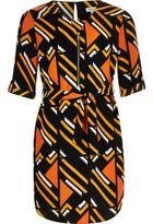 River Island Girls orange stripe print shirt dress
