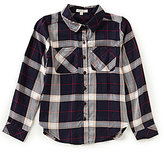 Copper Key Big Girls 7-16 Plaid Button-Front Tunic Top