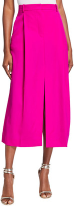 Nina Ricci Pleated Wool Slit Midi Skirt