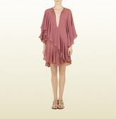 Gucci Dark Pink Georgette Ruffle Dress