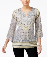 JM Collection Petite Printed Split-Neck Top, Created for Macy's